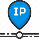 address, cable, connect, internet, ip, location icon