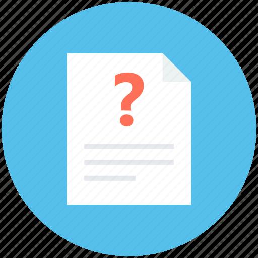 faq, query, question, question sheet, questionnaire icon