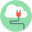 cloud computing, cloud hosting, cloud plugin, internet connection, power plug icon