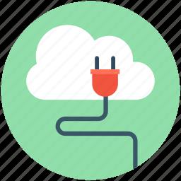 cloud computing, cloud hosting, cloud plugin, internet connection, power plug icon