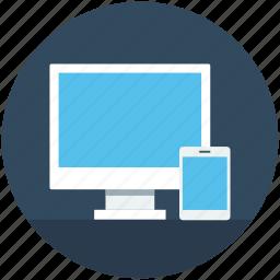 mobile, monitor, responsive web, web design, web template icon
