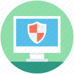 computer defender, computer protection, computer screen, safety shield, security approved icon