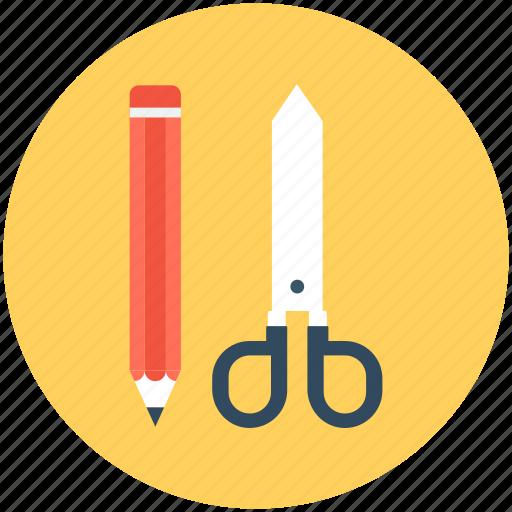 drafting tools, pencil, scissor, shear, stationery icon