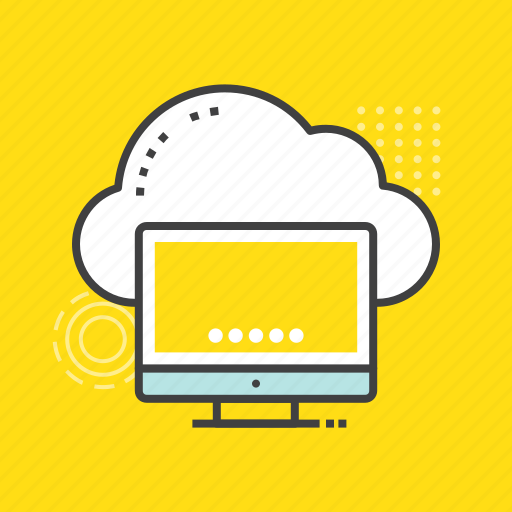cloud computing, cloud connection, cloud network, cloud screen, monitor icon