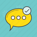 chat bubble, comments success, sent message, speech bubble icon
