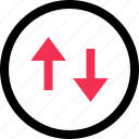 arrow, down, internet, up icon