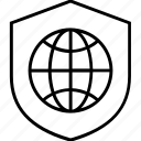 globe, security, grid, shield, global secure shield icon