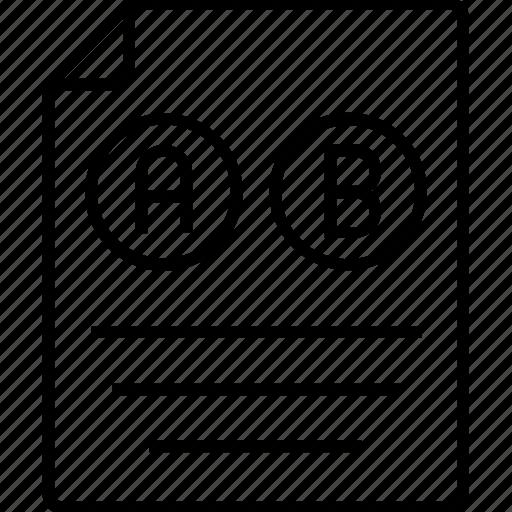 ab testing, paper, sheet, testing, text icon