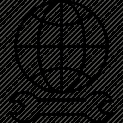 configure, globe, installation, internet, spanner icon