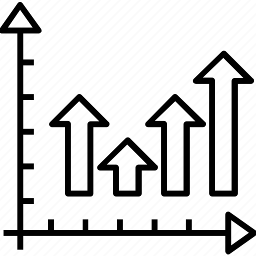 arrows, bar chart, bar graph, graph, progress chart icon