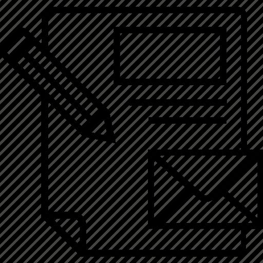 branding, development, email, paper, pencil icon