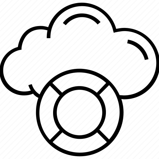 cloud, disaster recovery on cloud, life belt, life buoy, life ring icon
