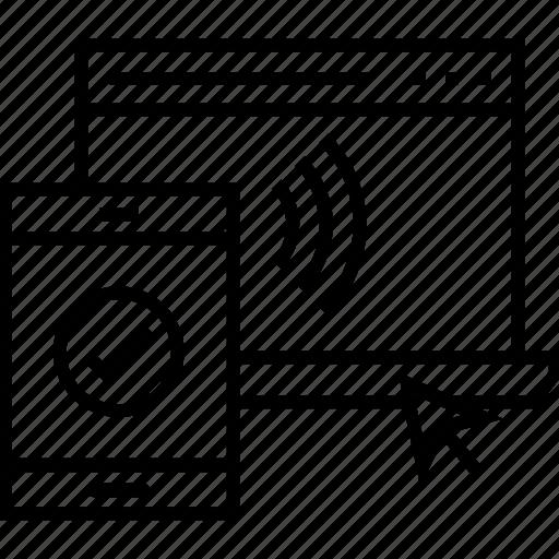 access, laptop, mobile, remote access, signals icon