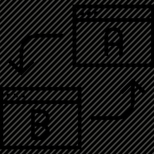 ab, ab testing, screens, testing, transfer icon