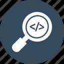 coding search, digital coding, machine language search, programming icon