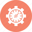 data management, data reporting, data visualization, gear clock icon
