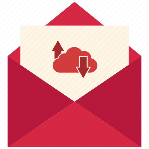 arrow, cloud, email, mail, message, online icon