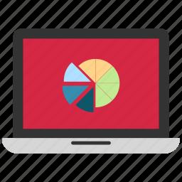 analytics, infographics, laptop, online graph, statistics icon