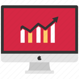 analytics, infographic, macbook graph, online, online infographic icon