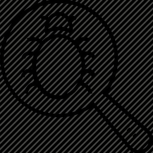 bug, bug search, bug tracking, find bug, find error icon
