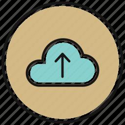 arrow, cloud, icloud, upload, uploading, upward icon