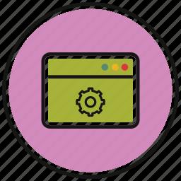 browser, cog, internet, setting, tab, web icon