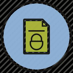 documents, file, folder, lock, paper icon
