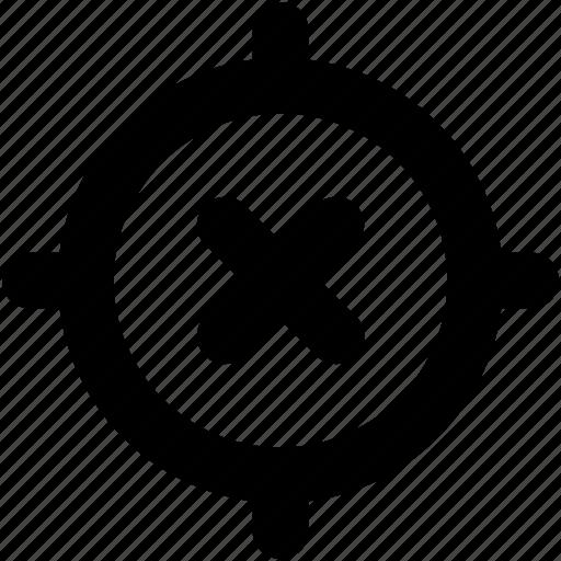 bullseye, cancel crosshair, crosshair, no navigation, turnoff navigation icon