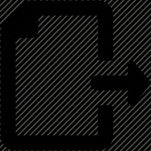 arrow, document, export file, file, forward file icon