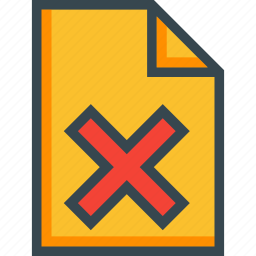 delete, document, file, new, page, paper, wrong icon