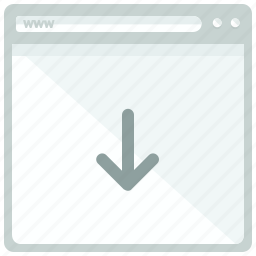 arrow, browser, down, download, web, webpage, website icon