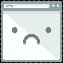 browser, emoticon, interface, sad, website icon