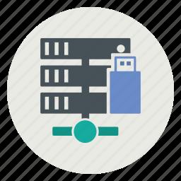 database, server, share, usb icon