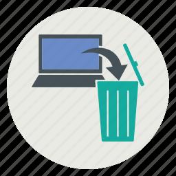 delete, laptop, trash icon