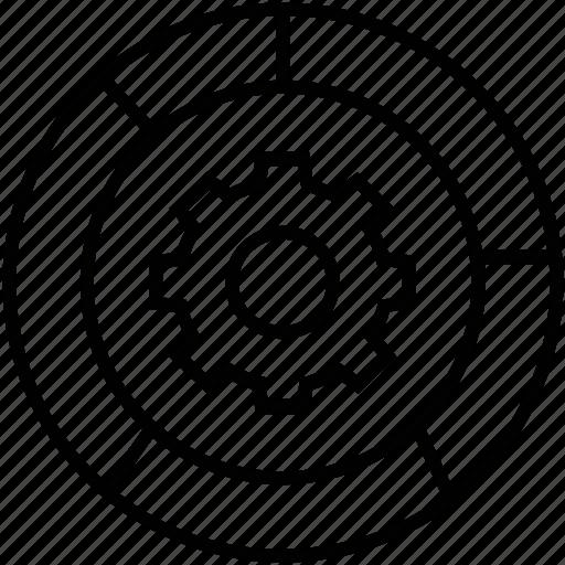 analytics, cog, data management, graph, pie graph icon
