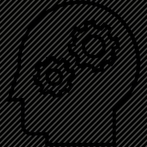 brainstorming, cog, gear, head, thinking icon