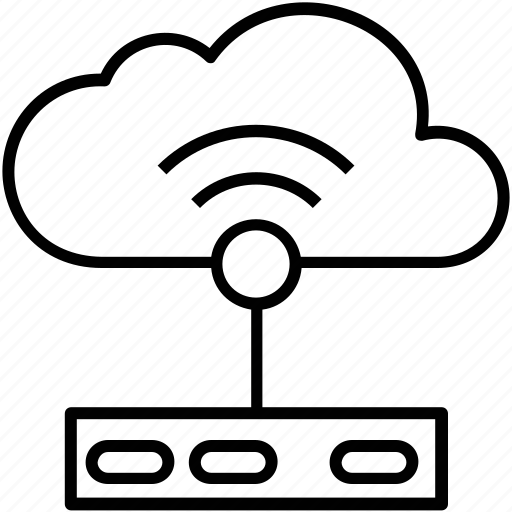 cloud computing, icloud, modem, router, wireless connection icon