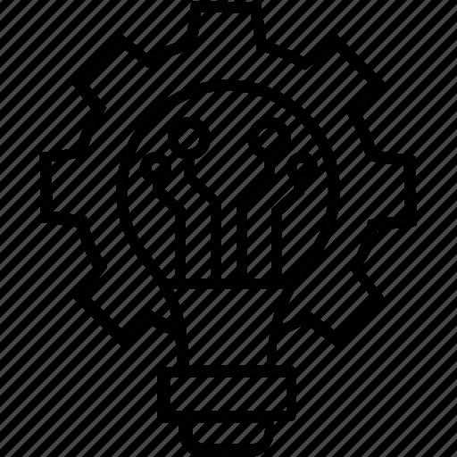 bulb, cog, development, idea, idea process icon