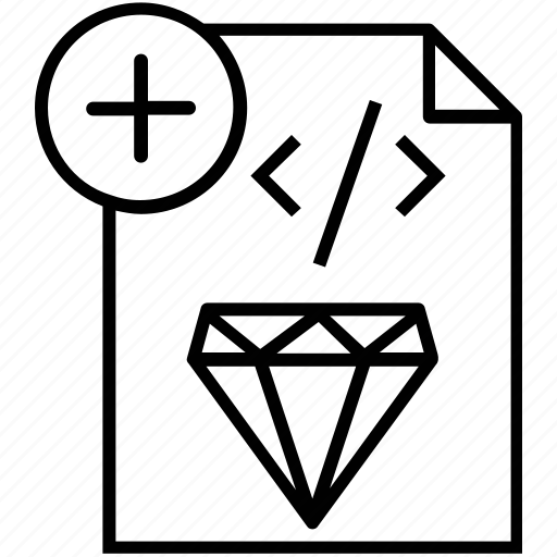 clean code, coding, development, diamond, programming icon
