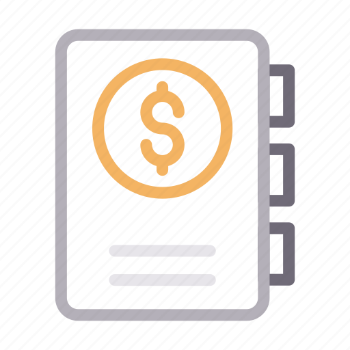 book, dollar, money, notebook, notepad icon