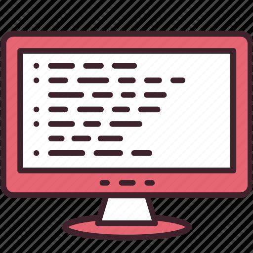 code, coding, computer, development, monitor, program, software icon