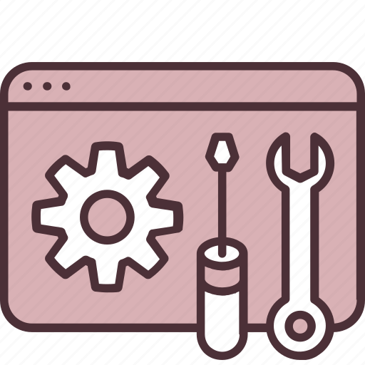 development, gear, internet, service, software, tools, webpage icon
