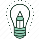 bulb, creative, idea, imagination, innovation, light, pencil icon