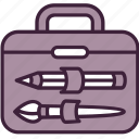 bag, briefcase, brush, business, equipment, portfolio, tools icon