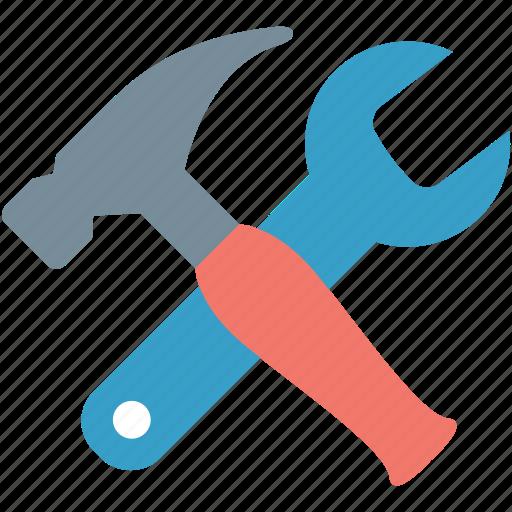 hammer, hand tools, nail hammer, repair tools, wrench icon