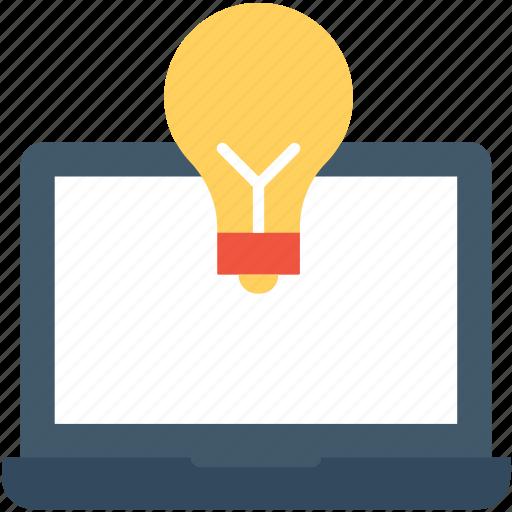 bulb, creativity, idea, laptop, online icon