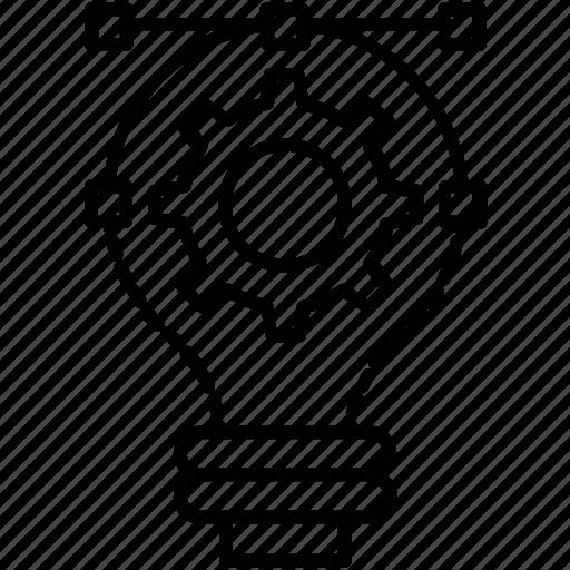 bulb, cog, creativity, design, illustration icon