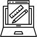 laptop, pencil, ruler, scale, web design icon