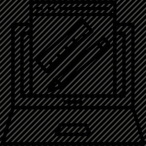 laptop, pencil, ruler, scale, web design icon