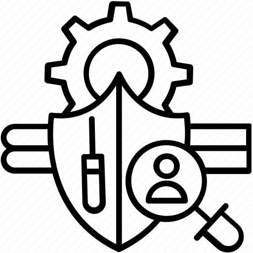 cogwheel, magnifier, optimization, shield, support icon